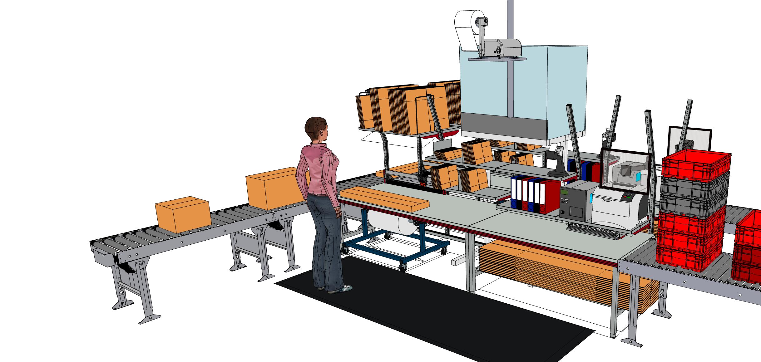 Abbildung: Packtisch mit Silo und Fördertechnik